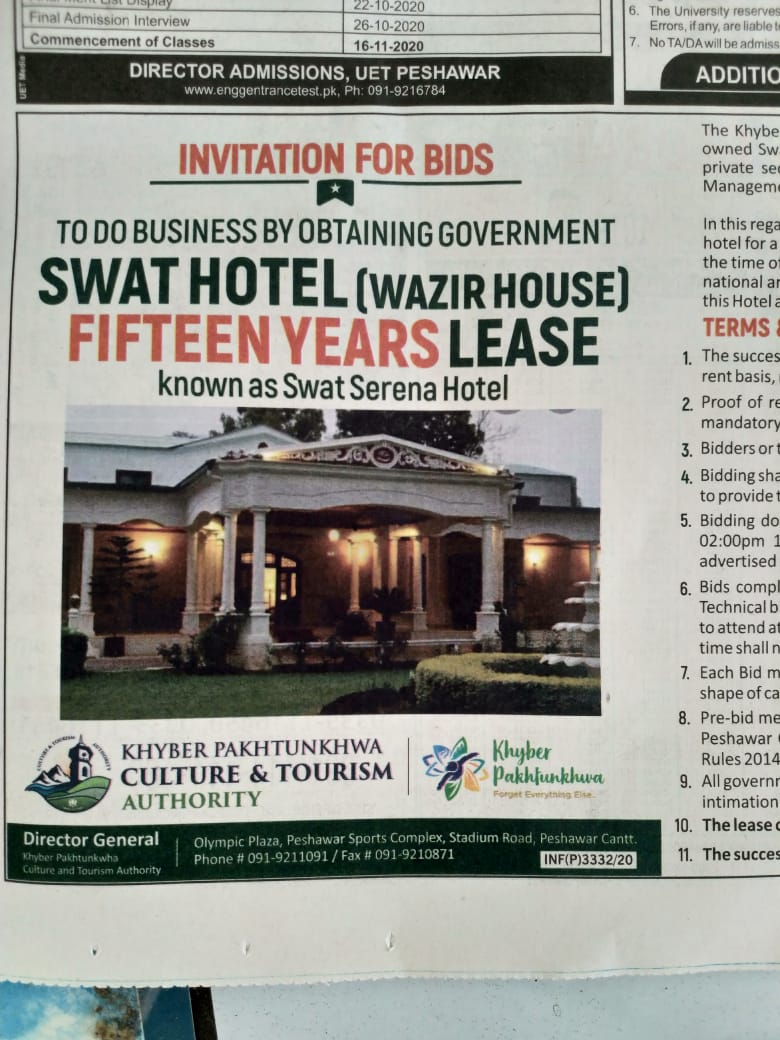 Swat hotel Saywriters - The house of the Minister of State of Swat is open for lease